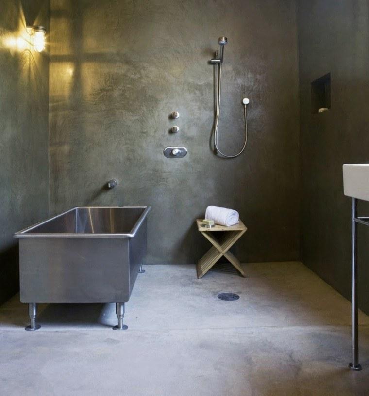 cuarto baño cemento color gris