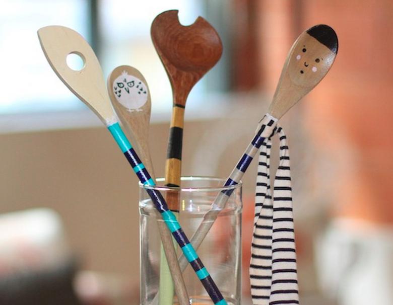 cucharas cocina madera decoradas pintadas