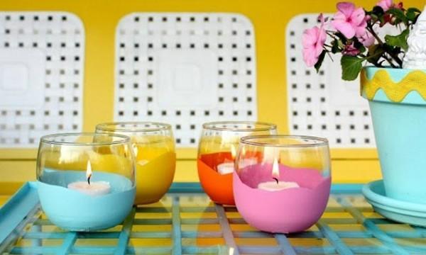 vasos pintados colores velas