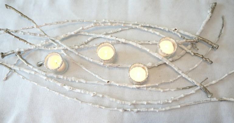 centro mesa ramas velas