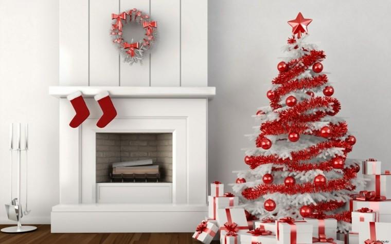 decorar salon blanco rojo