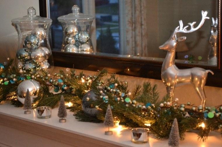 decoración de mesa ciervo color plata