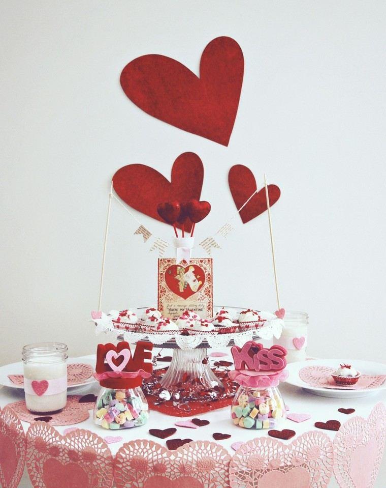 deco mesa romantica adornos rojos