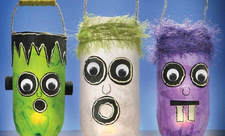 deco botellas plastico caras monstruos