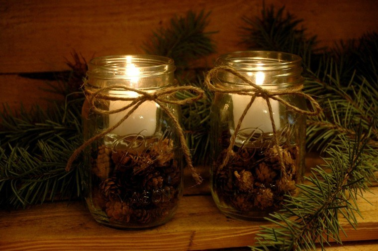 decoración casera velas piñas