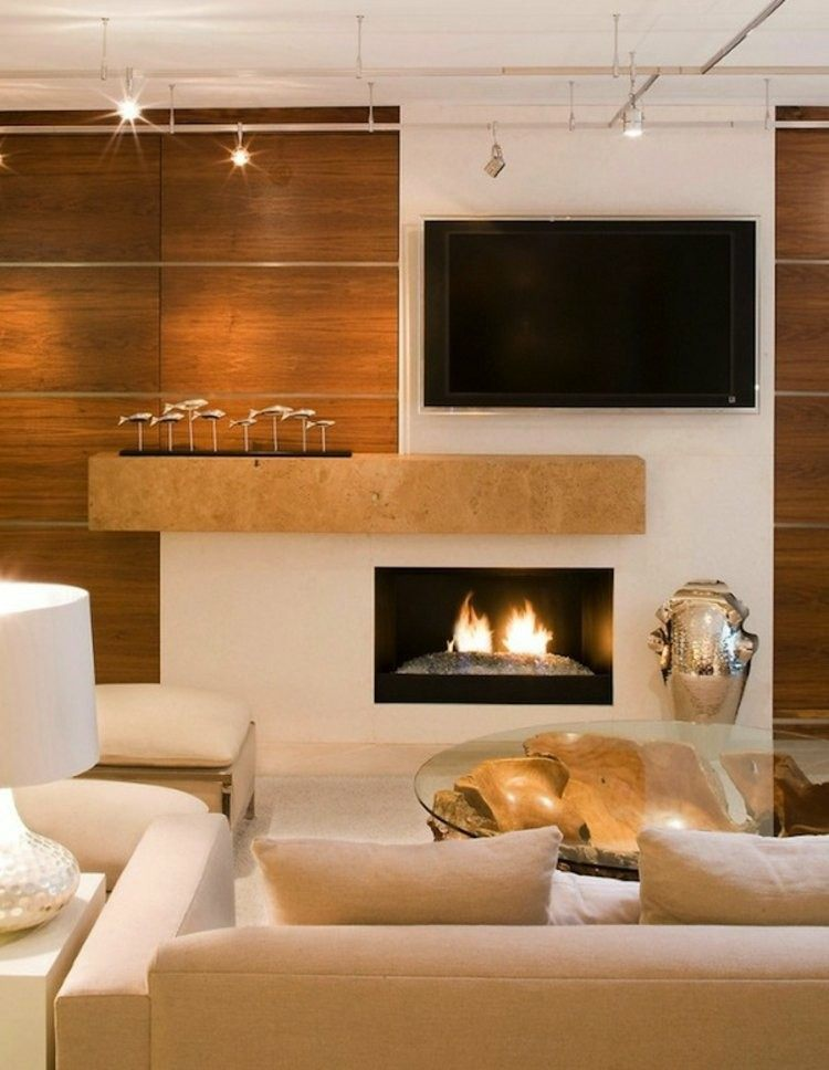 Chimeneas bioetanol y televisor integrado en la pared - Contemporary design for small living room ...