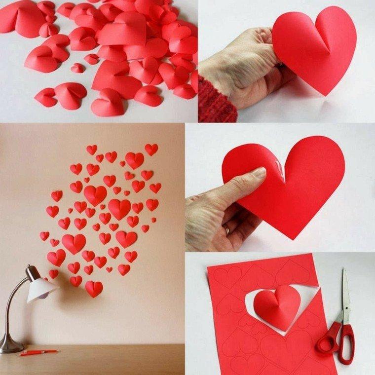 decoración corazones rojos cartulina