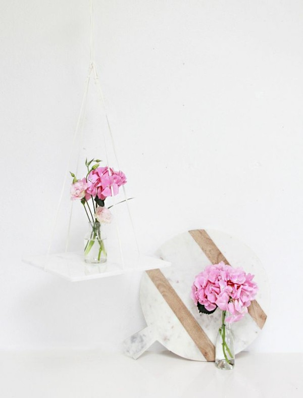deco estante colgante florero madera