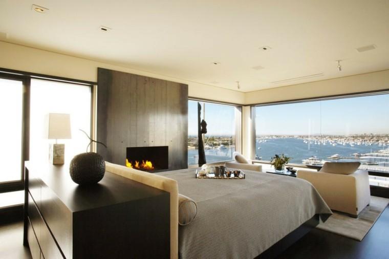 dormitorio moderno chimenea pared