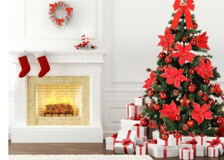 decoración navidad chimenea blanmca