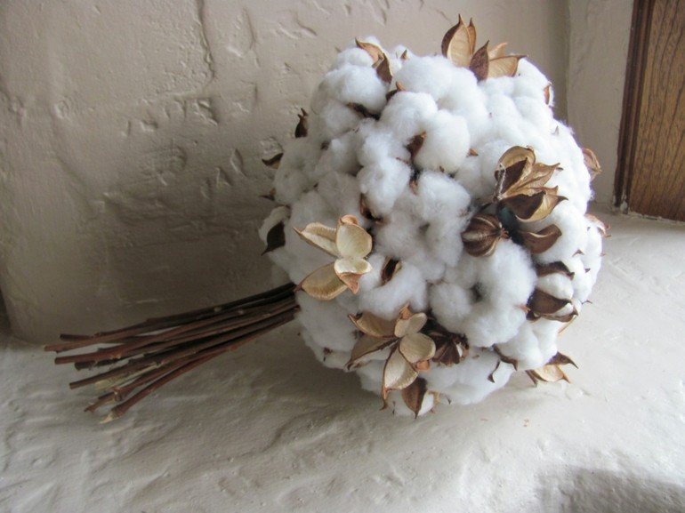 deco navidades ramo adorno algodon