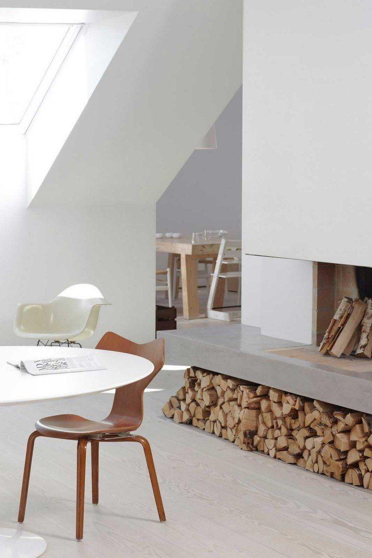 Chimenea de dise o moderno en la sala de estar - Chimenea de diseno ...