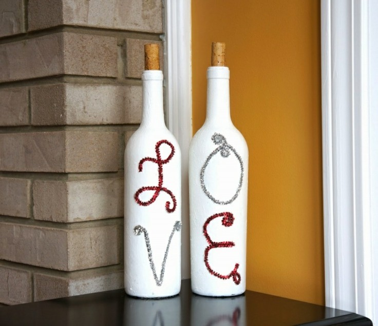 decorar botellas letras lentejuelas