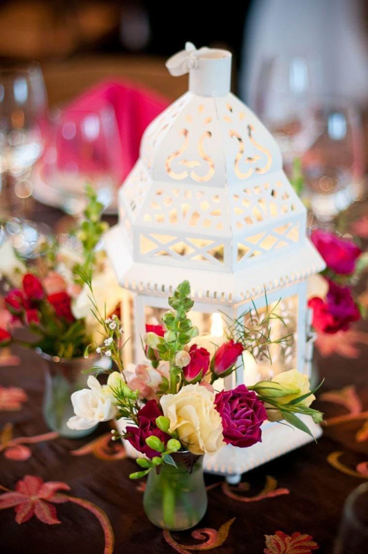 decorar mesa farol blanco