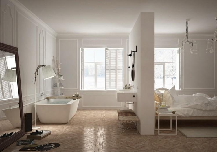 decoracion baños espejos maderas cortinas