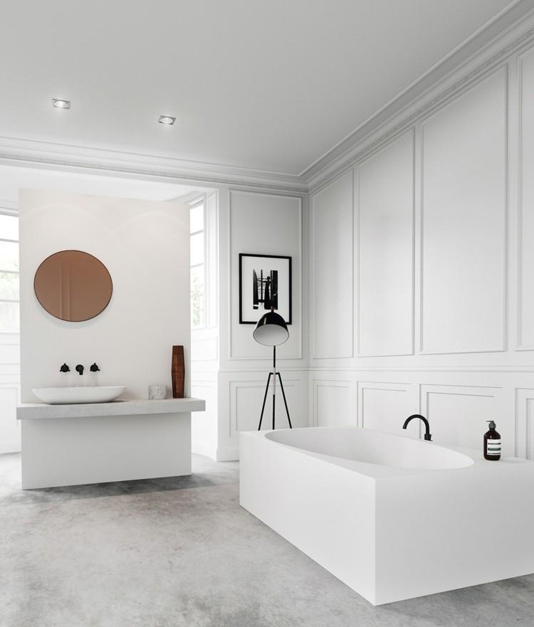 decoracion baños rocas blanco circular