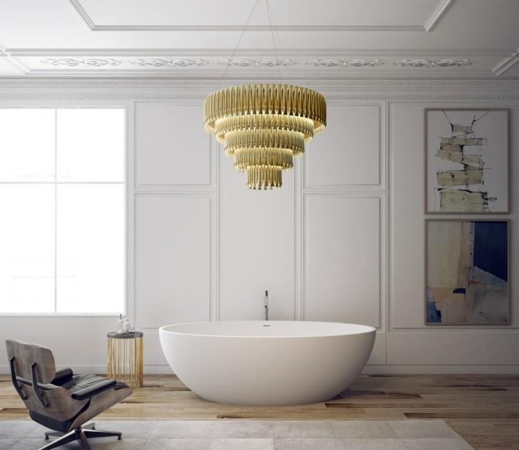 decoracion baños rocas colores dorados
