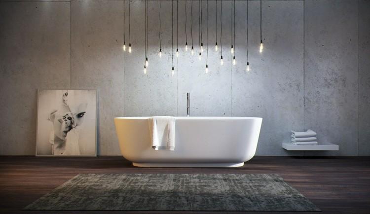 decoracion baños rocas lamparas madera alfombras
