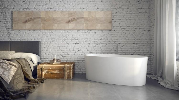 decoracion baños rocas piedras ladrillos madera