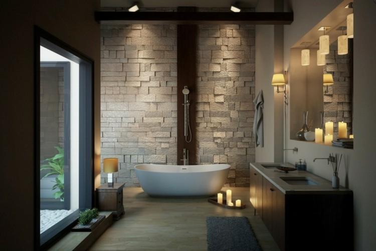 decoracion baños rocas piedras velas calido