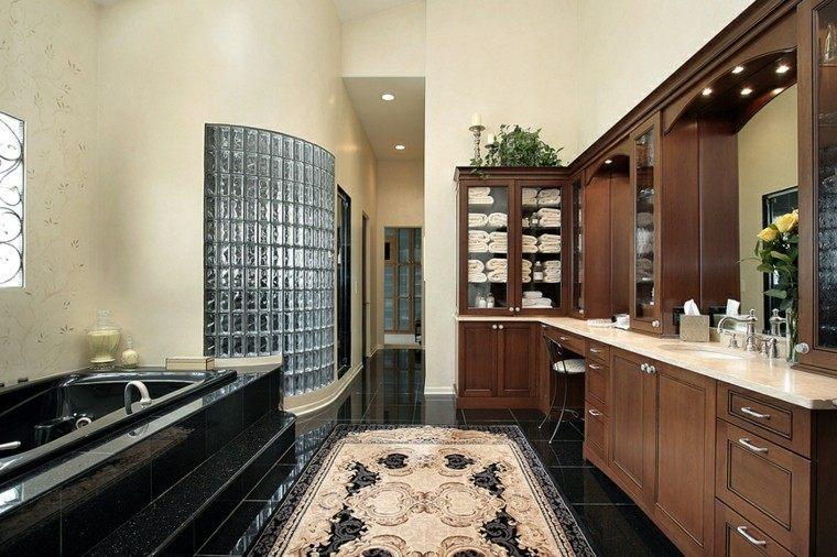 decoracion baño banera negra alfombra ideas