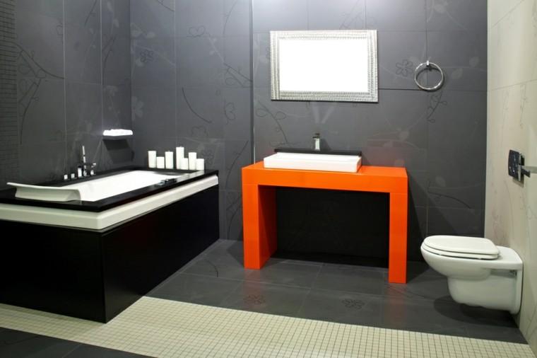 decoracion baño banera negra lavabo naranja ideas