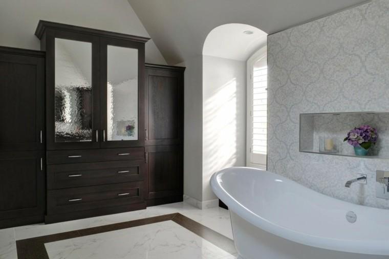 decoracion baño elegante armario madera ideas