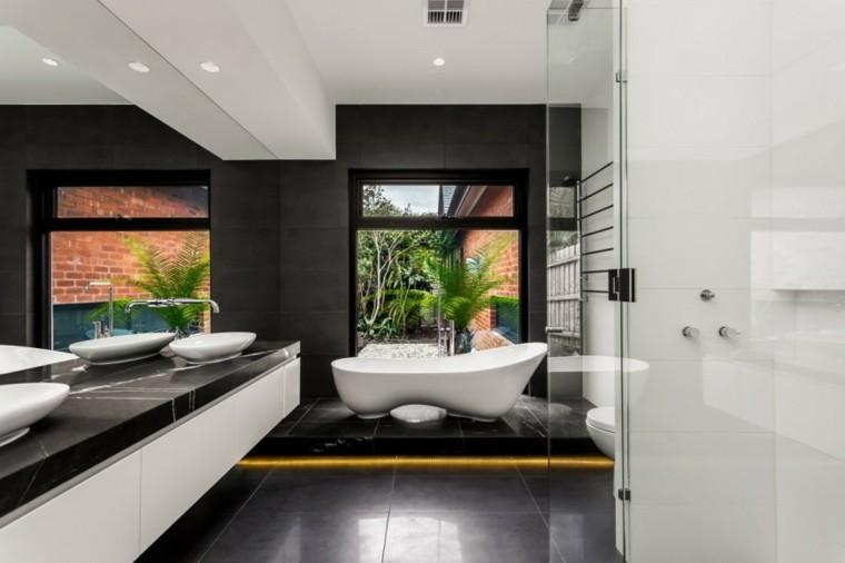 decoracion baño iluminacion LED suelo negro ideas