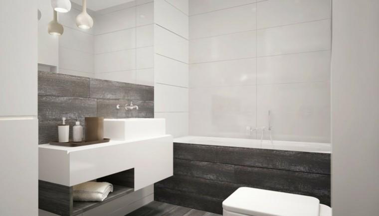 decoracion baño original losas blancas negras ideas