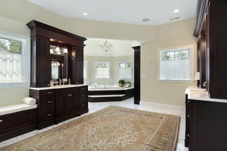 decoracion baño original muebles negros alfombra ideas