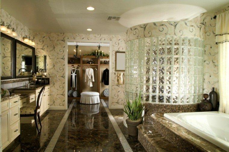 decoracion bano papel pared suelo marmol ideas