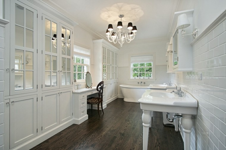 decoracion bano suelo oscuro muebles blancos ideas