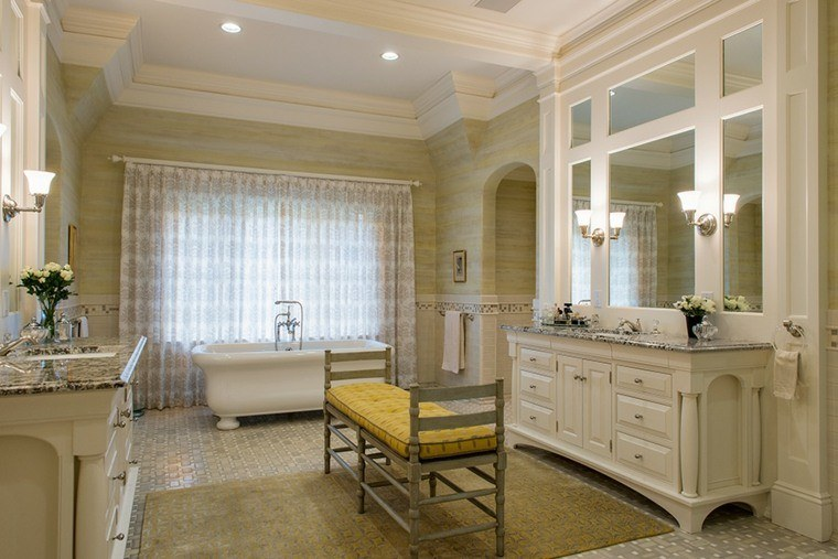 decoracion baños modernos banco madera ideas