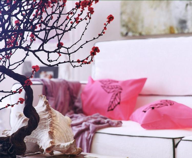decoracion casas diseño lamparas ramas macetas