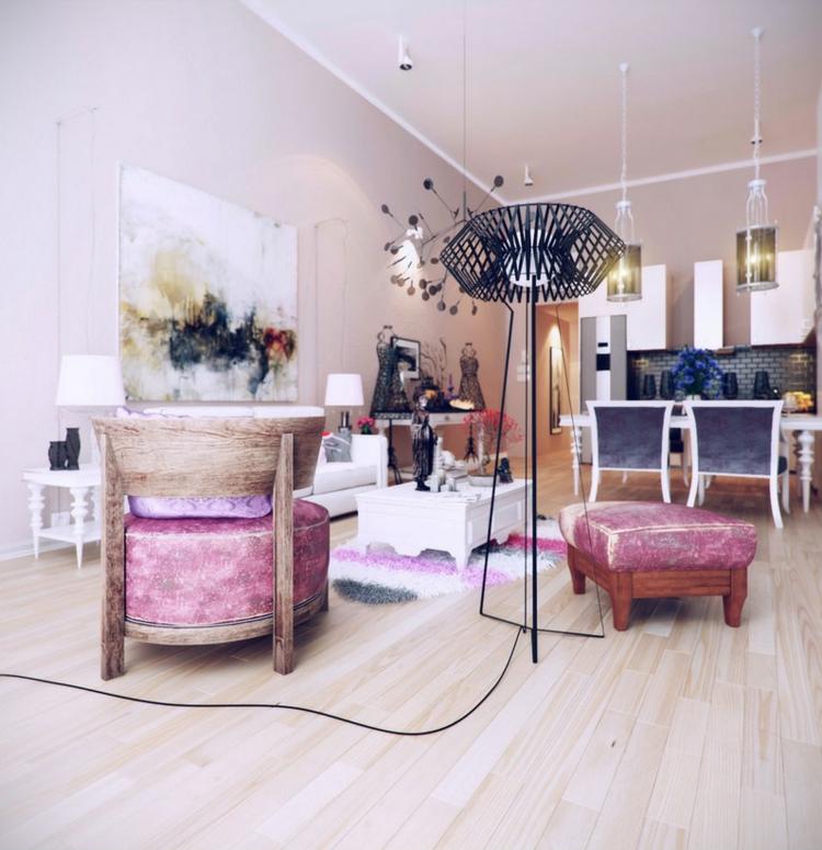 decoracion casas diseño lamparas sillones rosa
