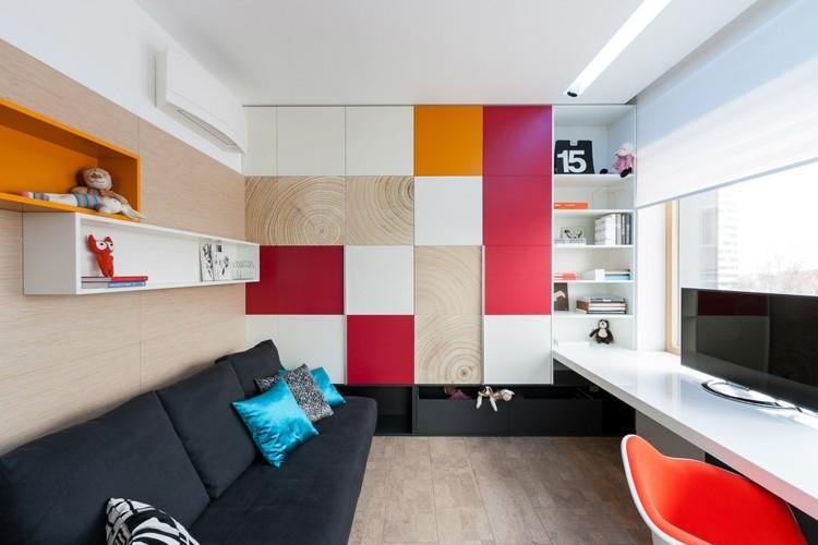 decoracion casas naranja rojo suelo colorido