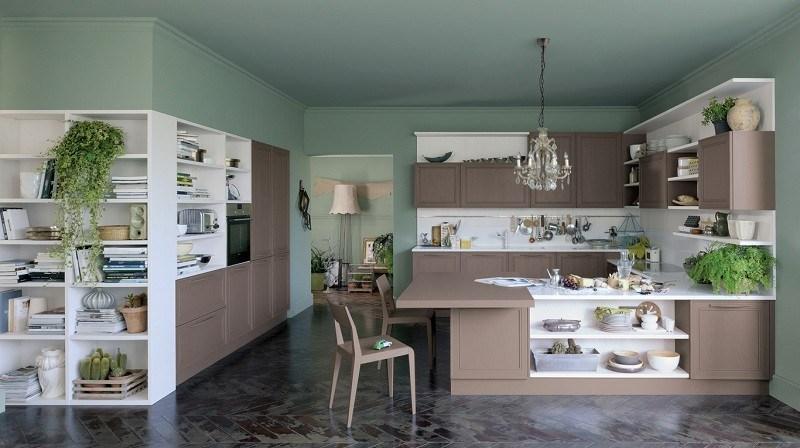 cocina amplia plantas muebles beige