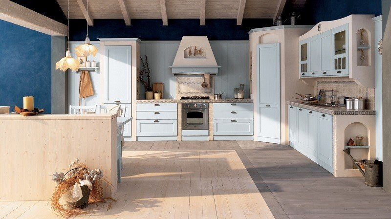 decoracion cocina muebles azul claro ideas