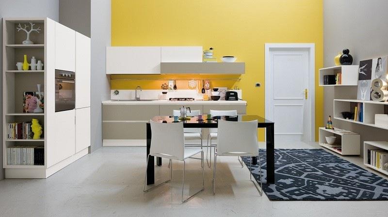 decoracion cocina pared amarilla alfombra ideas