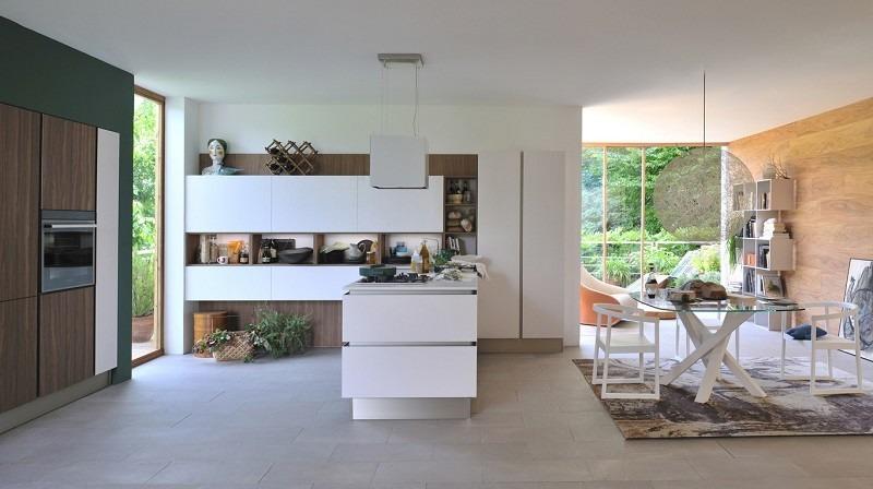 decoracion cocinas abiertas comedor mesa cristal ideas