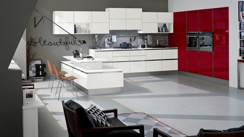 decoracion de cocinas armarios rojos ideas