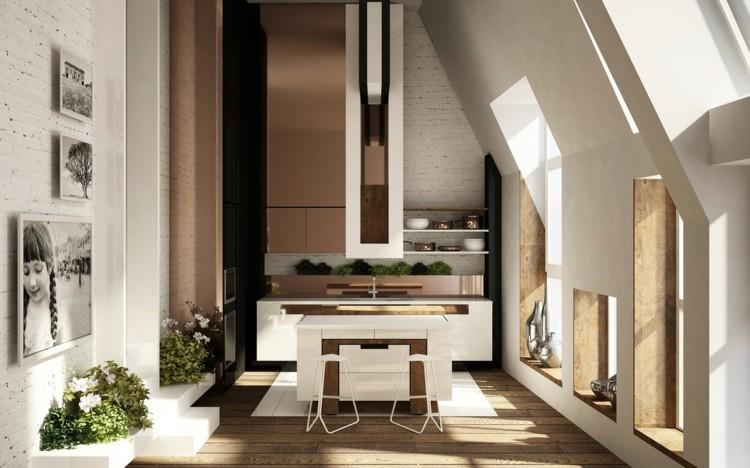 decoracion cocinas diseños ladrillos madera