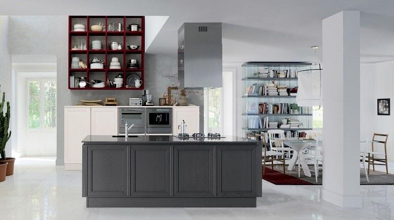 decoracion de cocinas estanterias rojas isla gris ideas