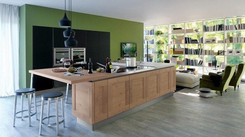 decoracion cocinas isla grande madera clara ideas