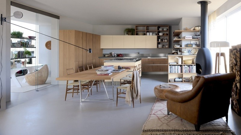 decoracion de cocinas modernas amplias muebles madera ideas