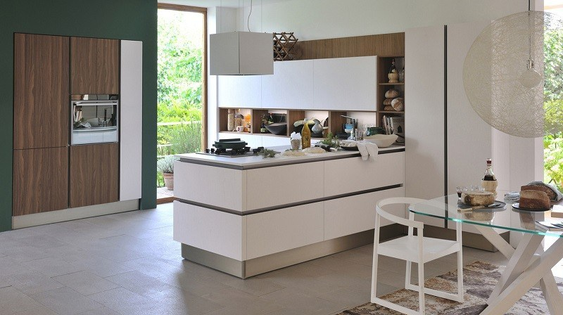 decoracion cocinas pared verde muebles blancos ideas