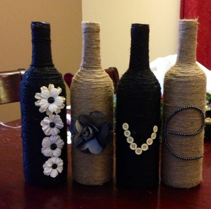 decoracion con botellas forradas