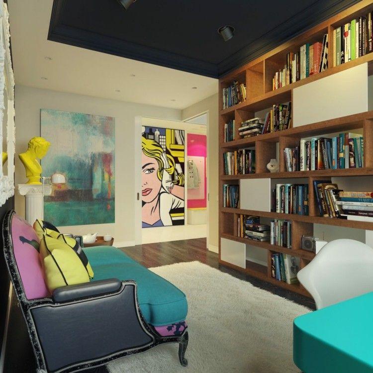 decoracion de casas alfombras librero colorido