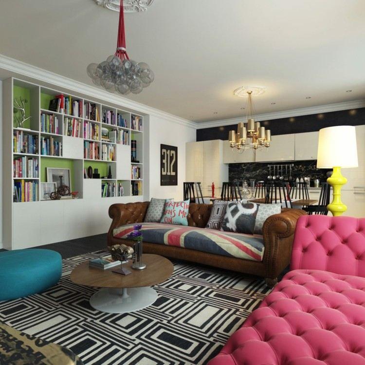 decoracion de casas alfombras rosa cuadros