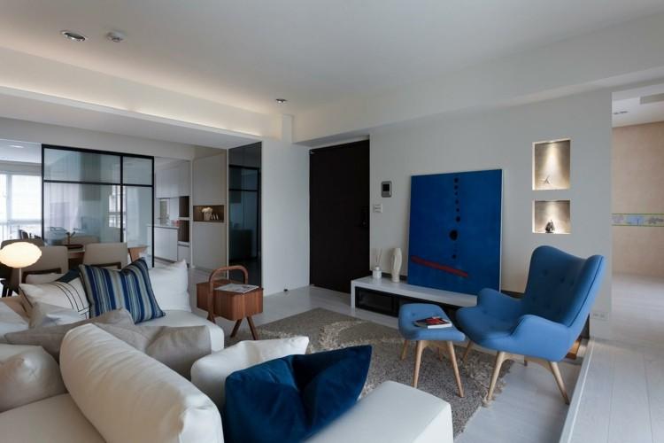 decoracion de interiores lineas azules cojines